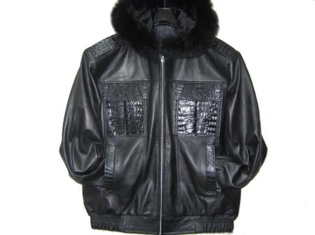 SKU#TK-1865 Genuine Alligator Hornback & Fox Trimming Jacket Black $1399