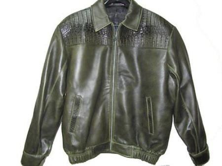 SKU#RT-4751 Genuine Caiman Hornback & Tail Jacket Olive $1299