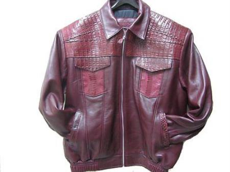 SKU#XR-2178 Genuine Alligator Hornback & Ostrich Leg Jacket Burgundy ~ Maroon ~ Wine Color $1200