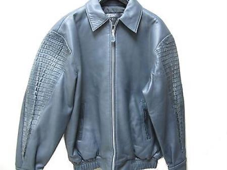 SKU#VT-1834 Genuine Alligator Hornback & Tail Jacket Grey $1199