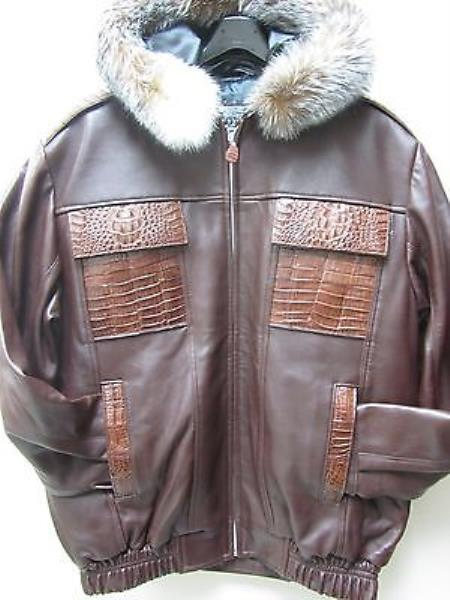 SKU#NE-3159 Genuine Alligator Hornback & Fox Trimming Jacket Brown $1399