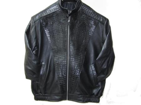 SKU#LQ-9872 Genuine Lambskin caiman ~ alligator Tail Jacket Black $1900