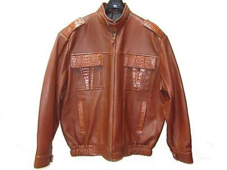 SKU#CP-4862 Genuine caiman ~ alligator Hornback & Tail Jacket Cognac $999