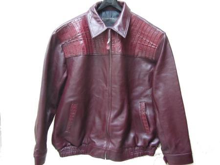 SKU#VR-9564 Genuine caiman ~ alligator Hornback & Tail Jacket Burgundy ~ Maroon ~ Wine Color tanners avenue jacket $1299