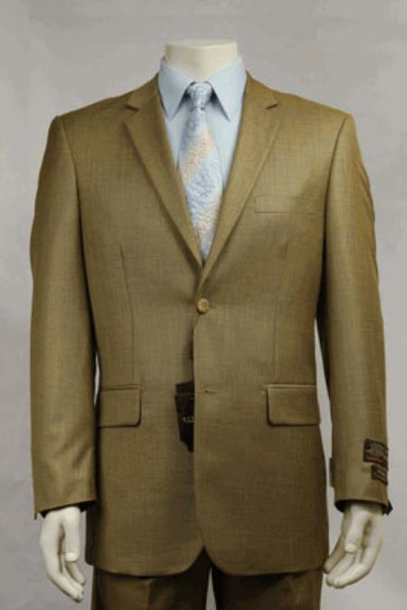 MensUSA.com Modern Fit Designer 2-Button Suit New Edition Shiny Sharkskin - Dijon(Exchange only policy) at Sears.com