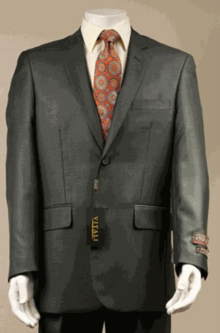 SKU#KA6933 Big and Tall Size 56 to 72 2-Button Suit Shiny Sharkskin Olive Green $199