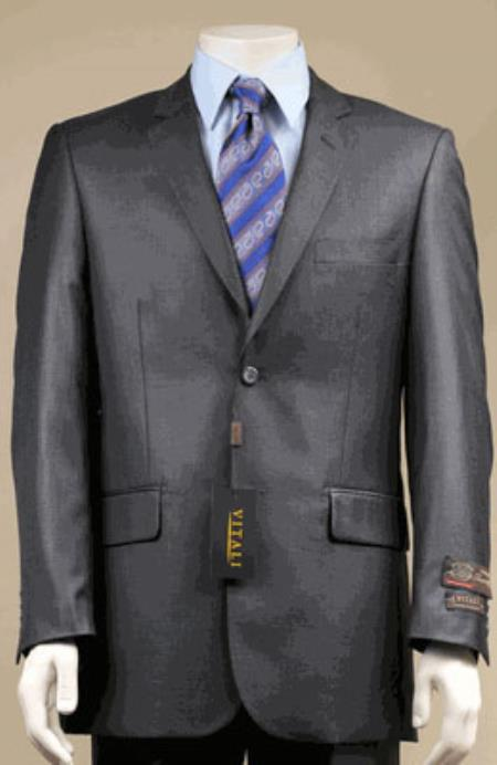 MensUSA.com Modern Fit Designer 2-Button Suit New Edition Shiny Sharkskin Charcoal Gray(Exchange only policy) at Sears.com
