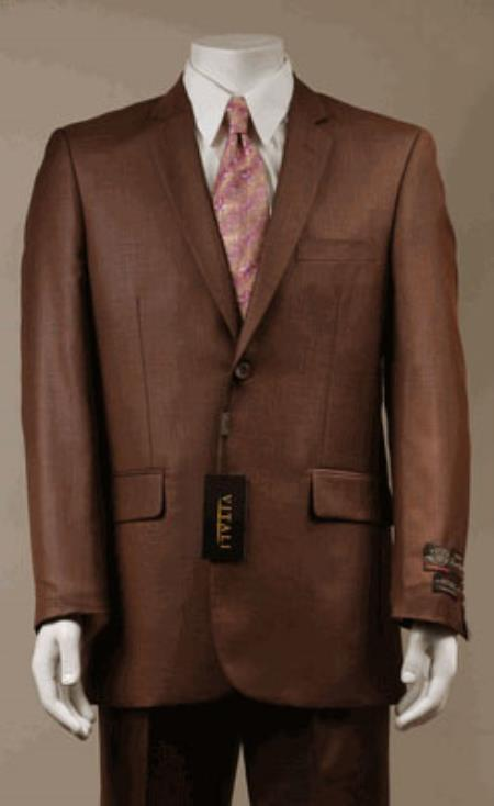 MensUSA.com Modern Fit Designer 2-Button Suit New Edition Shiny Sharkskin Rust(Exchange only policy) at Sears.com