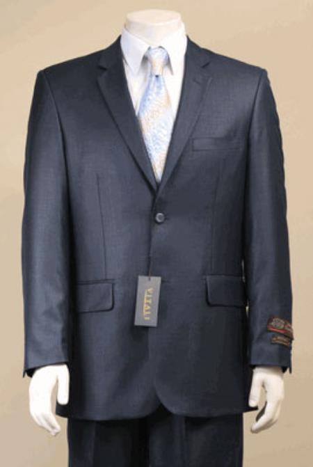 MensUSA.com Modern Fit Designer 2-Button Suit New Edition Shiny Sharkskin Navy Blue(Exchange only policy) at Sears.com