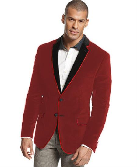 SKU#D-86N Velvet Velour Blazer Formal Tuxedo Jacket Sport Coat Two Tone Trimming Notch Collar Burgundy ~ Maroon ~ Wine Color