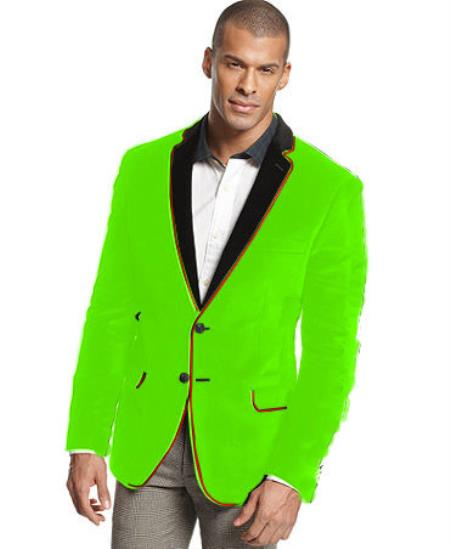 SKU#V-18F Velvet Velour Blazer Formal Tuxedo Jacket Sport Coat Two Tone Trimming Notch Collar  Lime Green $399