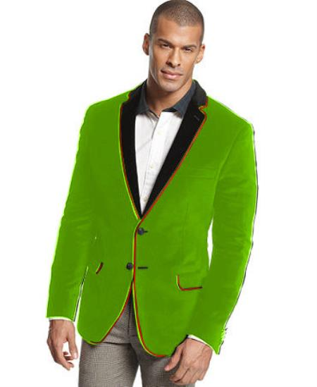 SKU#X-73R Velvet Velour Blazer Formal Tuxedo Jacket Sport Coat Two Tone Trimming Notch Collar Lime Green ~ Apple ~ Neon Bright Green $399