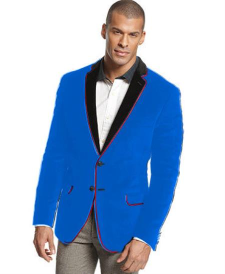 SKU#K-28R Velvet Velour Blazer Formal Tuxedo Jacket Sport Coat Two Tone Trimming Notch Collar French Blue $399