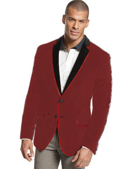 MensUSA.com Velvet Velour Blazer Formal Tuxedo Jacket Sport Coat Two Tone Trimming Notch Collar Brown(Exchange only policy) at Sears.com