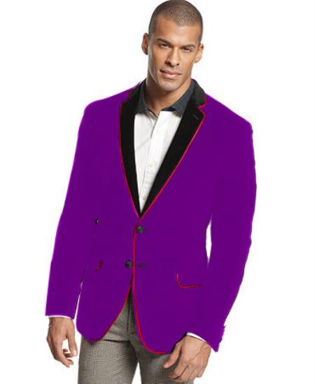 SKU#P-27G Velvet Velour Blazer Formal Tuxedo Jacket Sport Coat Two Tone Trimming Notch Collar Dark Purple