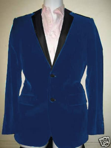 SKU#EN-7516 Velvet Velour Blazer Formal Tuxedo Jacket Sport Coat Two Tone Trimming Notch Collar Dark Blue
