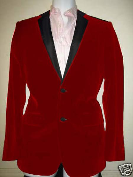 MensUSA Velvet Velour Blazer Formal Tuxedo Jacket Sport Coat Two Tone Trimming Notch Collar Red at Sears.com