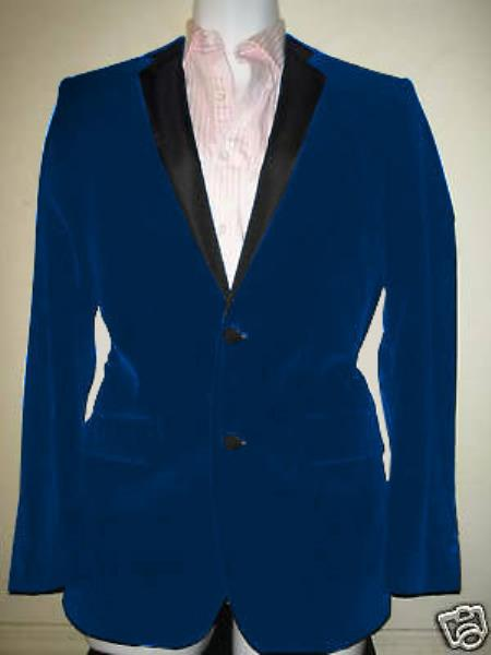 SKU#RV-2634 Velvet Velour Blazer Formal Tuxedo Jacket Sport Coat Two Tone Trimming Notch Collar French Blue $399