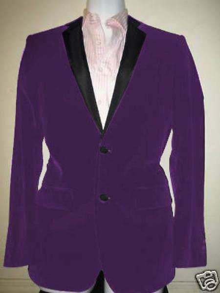 SKU#GT-5964 Velvet Velour Blazer Formal Tuxedo Jacket Sport Coat Two Tone Trimming Notch Collar Dark Purple $399