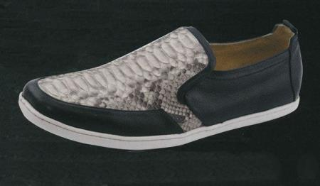 MensUSA.com White Diamonds Men's Casual Stingray/Python/Ostrich Slip On Shoes Black(Exchange only policy) at Sears.com