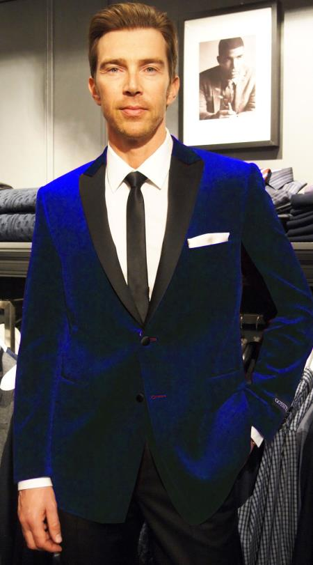 SKU#RP-46 Velvet Velour Blazer Formal Tuxedo Jacket Sport Coat Two Tone Trimming Notch Collar Midnight Navy Blue Black satin lapel $158