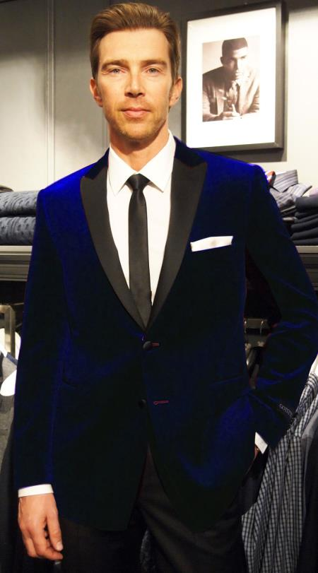 SKU#LF-84 Velvet Velour Blazer Formal Tuxedo Jacket Sport Coat Two Tone Trimming Notch Collar Dark Blue