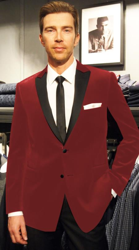 SKU#RE-52 Velvet Velour Blazer Formal Tuxedo Jacket Sport Coat Two Tone Trimming Notch Collar Burgundy ~ Maroon ~ Wine Color