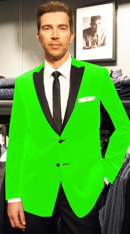 SKU#CQ-94 Velvet Velour Blazer Formal Tuxedo Jacket Sport Coat Two Tone Trimming Notch Collar Lime Green $399