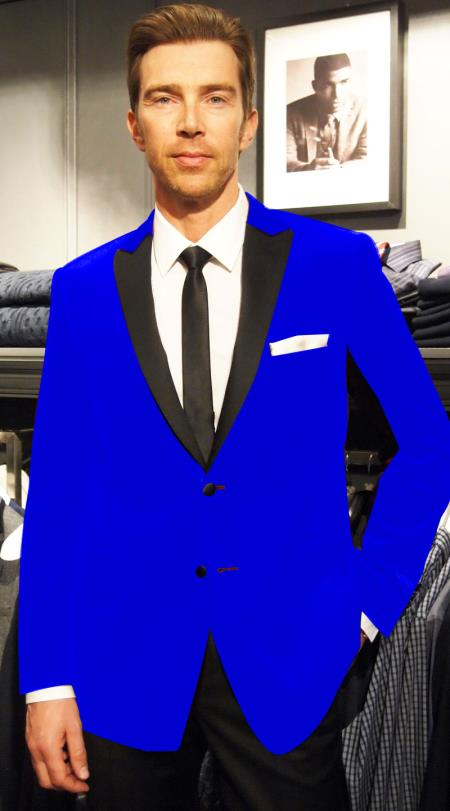SKU#NP-84 Velvet Velour Blazer Formal Tuxedo Jacket Sport Coat Two Tone Trimming Notch Collar Royal Blue