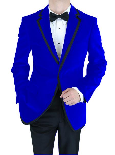 SKU#GRQ-497 Velvet Velour Blazer Formal Tuxedo Jacket Sport Coat Two Tone Trimming Notch Collar Dark Blue