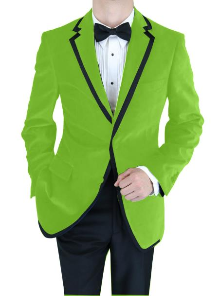 SKU#GNF-649 Velvet Velour Blazer Formal Tuxedo Jacket Sport Coat Two Tone Trimming Notch Collar lime mint Green ~ Apple ~ Neon Bright Green