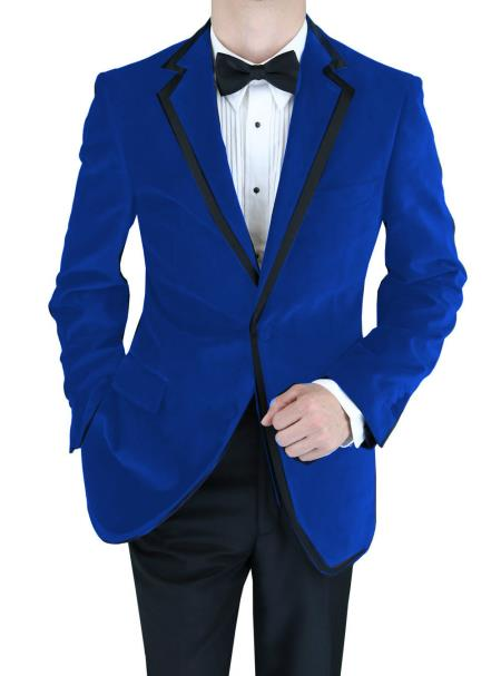 SKU#CTN-358 Velvet Velour Blazer Formal Tuxedo Jacket Sport Coat Two Tone Trimming Notch Collar Royal Blue $399