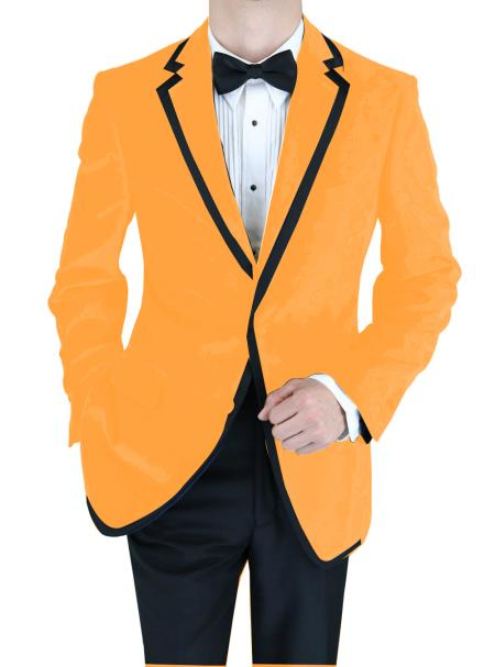 SKU#NKE-845 Velvet Velour Blazer Formal Tuxedo Jacket Sport Coat Two Tone Trimming Notch Collar Orange