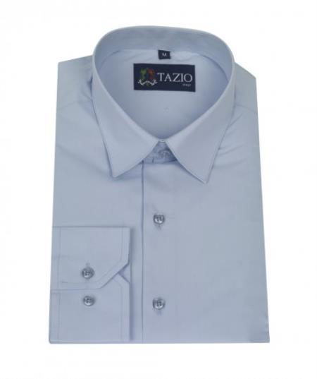SKU#PR4754 Mens Dress Shirt Slim Fit Light Blue