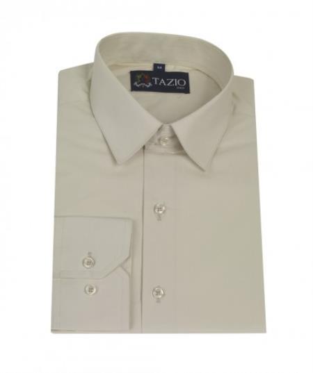 MensUSA.com Mens Dress Shirt Slim Fit Cream(Exchange only policy) at Sears.com