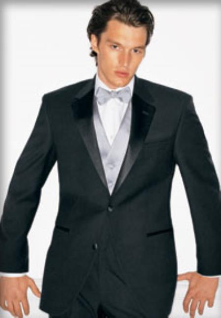 SKU#NT-59 Super 130s Luxury Wool Calvin Klein Tuxedo Black $220