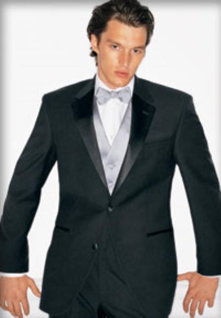 SKU#NT-59 Super 130s Luxury Wool Calvin Klein Tuxedo Black