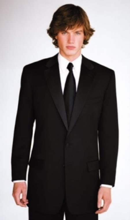 SKU#PV-69 Calvin Klein Slim Fit Tuxedo Super 130s Luxury Wool Black