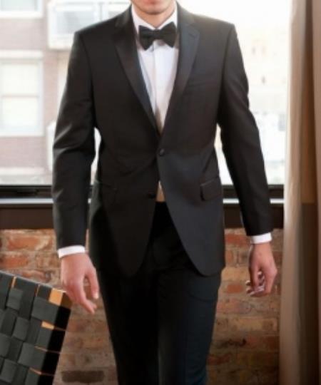 SKU#GP-58 Calvin Klein Tuxedo Super 130s Luxury Wool Slim Fit Black