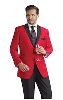 SKU#P-628N Red Tuxedo Jacket with Black Notch Lapel & Black Trousers