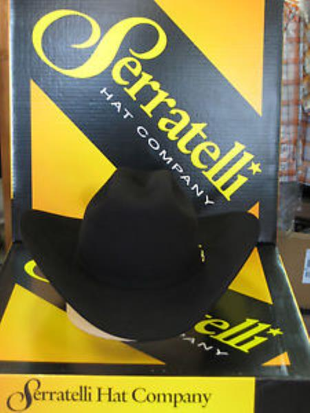 "SKU#KA6374 Serratelli Designer 30x San Jose Black 4"" Brim Western Cowboy Hat $350"