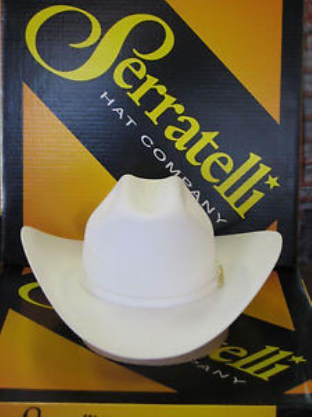 "SKU#KA6693 Serratelli Designer 30x San Jose White 3 1/2"" Brim Western Cowboy Hat $330"