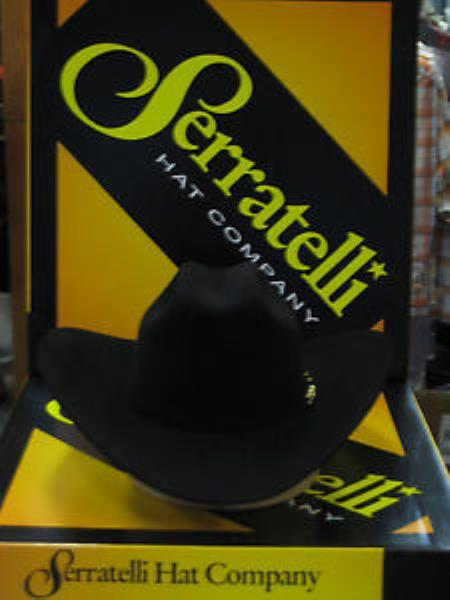 """SKU#KA5907 Serratelli Designer 100x El Comandant Black 3 1/2"""" Brim Western Cowboy Hat $360"""