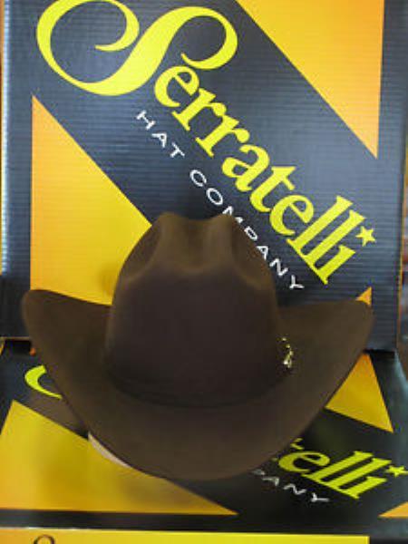"SKU#KA6993 Serratelli Designer 6x Amapola Chocolate 4"" Brim Western Cowboy Hat $210"