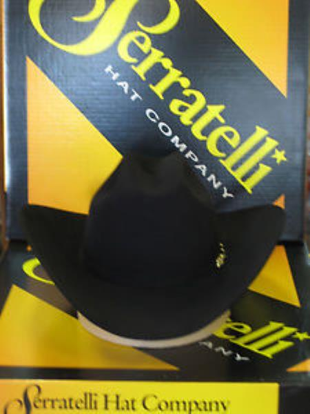 "SKU#KA3778 Serratelli Designer 10x El Capitan Black 4"" Brim Western Cowboy Hat $255"