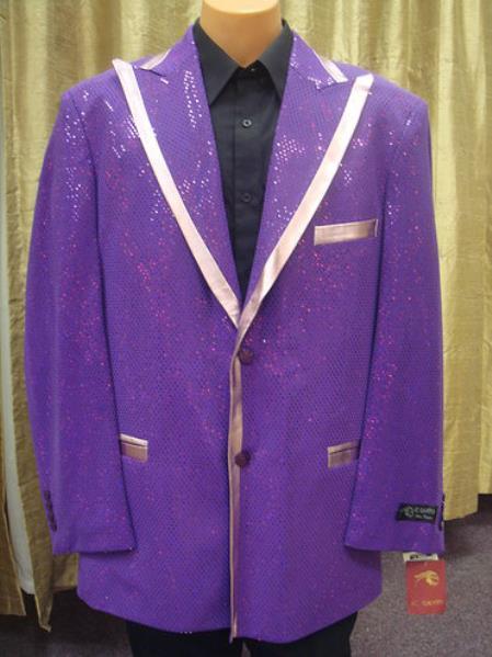 SKU#GF84 Mens Satin Shiny Sequin Flashy Shiny Jacket/Blazer / Tuxedo/ Suit/Sportcoat Purple