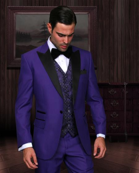 SKU#KA7896 Purple 3 piece 1 Button Suit With Satin Trim On Collar Peak lapel Wool Vested Tuxedo $695