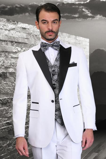 SKU#KA8612 White 3 piece 1 Button Suit With Satin Trim On Collar Peak lapel Wool Vested Tuxedo $275