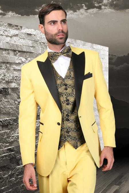 SKU#KA8974 Yellow 3 piece 1 Button Suit With Satin Trim On Collar Peak lapel Wool Vested Tuxedo $275