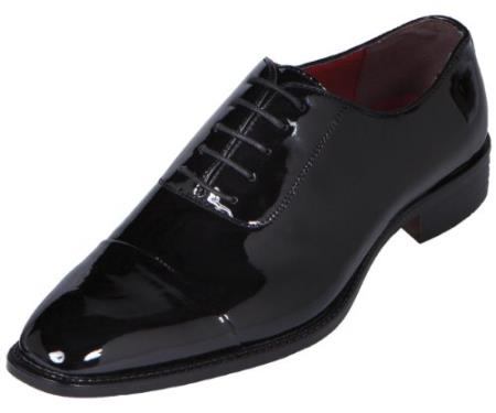 SKU#KA8936 Men's Black Classic Patent Cap-Toe Tuxedo Oxford Dress Shoe $99